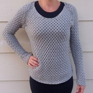 Old Navy Gray Braided Knit Pullover Sweater MED